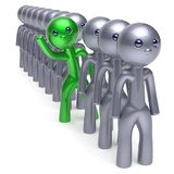 Individuality man character, stand out from the crowd green. Individuality man character, stand out from the crowd, men stylized different people, unique green royalty free illustration