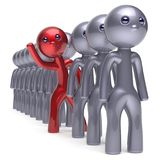 Individuality man character stand out from the crowd icon. Individuality man character stand out from the crowd men stylized different people unique red think Royalty Free Stock Photo