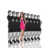 Individuality. Range of same woman and one different. Isolated on white background royalty free stock image
