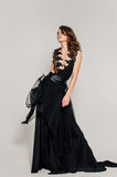 Individuality. Thoughtful Elegant Lady in Black Prom Evening Dress. stock photography