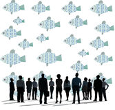 Individuality Unique Different Fish Graphic Concept Stock Image