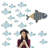Individuality Unique Different Fish Graphic Concept Royalty Free Stock Photography