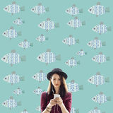 Individuality Unique Different Fish Graphic Concept. People Being Individuality Unique Different Royalty Free Stock Image