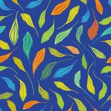 Individually hand drawn leaves in multicolor pattern. Seamless vector repeat on blue background. Fresh happy vibe. Great royalty free illustration
