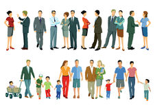 Individuals and families. Illustration, in two colorful rows,  of individuals and families some clearly business people formally dressed in suits, shirt and ties Stock Photos