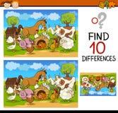Individuazione del fumetto del gioco di differenze Fotografie Stock Libere da Diritti