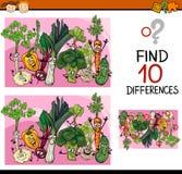 Individuazione del fumetto del gioco di differenze Fotografia Stock
