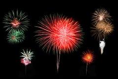 Individueel kleurrijk die vuurwerk op zwarte achtergrond wordt geïsoleerd royalty-vrije stock foto