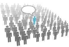 Individuele persoonstoespraak in menigte sociale groep Stock Afbeeldingen
