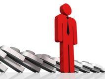 Individuele rode leiderspersoon die van teamgroep ligt Royalty-vrije Stock Foto's