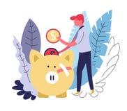 Individuellt för abstrakt begreppbegrepp för medicinsk försäkring man och pengarsvin stock illustrationer
