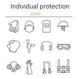 Individuellt skydd Uppsättning av symboler av personlig skyddsutrustning i konstruktion stock illustrationer
