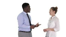Individuo afroamericano y muchacha que hablan de negocio en el fondo blanco almacen de video