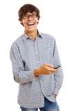 Individuo alegre con el teléfono celular Imágenes de archivo libres de regalías