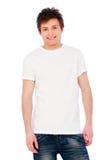 Individuo alegre joven sobre el fondo blanco Imagen de archivo libre de regalías