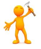 Individuo anaranjado: Trabajo con un martillo Foto de archivo libre de regalías