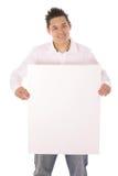 Individuo asiático con vertical en blanco de la muestra Fotografía de archivo libre de regalías