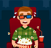 Individuo asustadizo en cine Muchacho en 3D Ejemplo plano del vector Hombre Sit Watching Movie Con palomitas Fotos de archivo libres de regalías