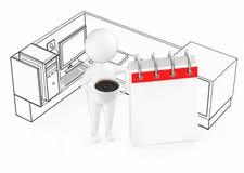 individuo blanco 3d que sostiene una taza con caf? y que se coloca al lado de un calendario vac?o dentro de un cub?culo de la ofi ilustración del vector