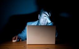 Individuo cansado del ordenador Foto de archivo libre de regalías