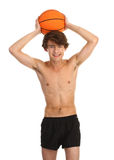 Individuo con baloncesto Foto de archivo