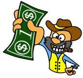 Individuo con el cigarro que lleva a cabo un billete de dólar Imagenes de archivo