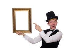 Individuo con el marco de la foto aislado en blanco Foto de archivo