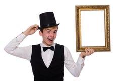 Individuo con el marco de la foto aislado en blanco Fotos de archivo libres de regalías