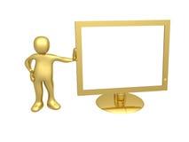 Individuo con el monitor del ordenador Imagen de archivo libre de regalías