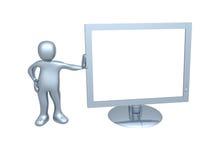 Individuo con el monitor del ordenador stock de ilustración