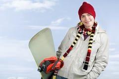 Individuo con el snowboard Foto de archivo libre de regalías