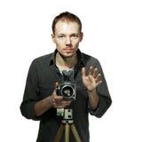 Individuo con la cámara retra Foto de archivo libre de regalías