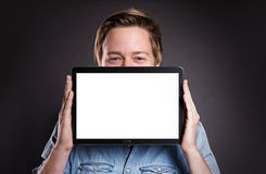 Individuo con Tablet PC Fotografía de archivo