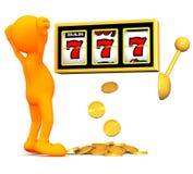 individuo 3d: El hombre gana grande en la máquina tragaperras Imágenes de archivo libres de regalías