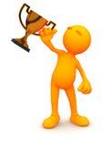 individuo 3d: Hombre que sostiene el trofeo de bronce Imagenes de archivo