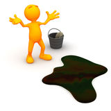 individuo 3d: Trastorno sobre derrame de petróleo Imagen de archivo