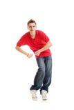 Individuo de hip-hop del baile en camiseta roja Foto de archivo libre de regalías