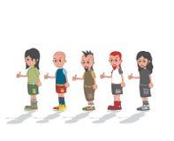 Individuo de la música en personaje de dibujos animados del grupo Imagenes de archivo