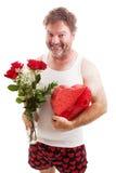 Individuo desaliñado de las tarjetas del día de San Valentín en ropa interior Fotografía de archivo libre de regalías