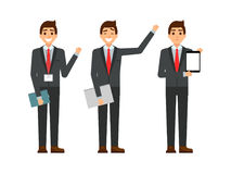 Individuo divertido de la historieta en el traje, gesticulando El sistema de caracteres del hombre de negocios señala y mostrando Fotografía de archivo libre de regalías