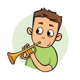 Individuo divertido que toca la trompeta Icono plano del diseño Ejemplo plano del vector Aislado en el fondo blanco ilustración del vector