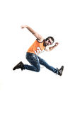 Individuo emocional y encantador - el golpeador en auriculares toma el danc Fotografía de archivo