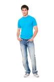 Individuo en camiseta azul Foto de archivo libre de regalías
