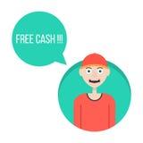 Individuo en gorra de béisbol roja con verde libre del efectivo Imágenes de archivo libres de regalías