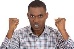 Individuo enojado, puños para arriba Imagen de archivo