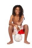 Individuo feliz del rasta que señala en usted en estudio Foto de archivo libre de regalías