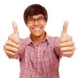 Individuo feliz que muestra el pulgar para arriba Fotos de archivo libres de regalías
