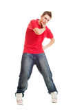 Individuo fresco de hip-hop en camiseta roja Fotos de archivo libres de regalías