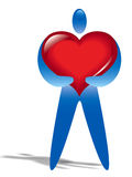 Individuo humano con el corazón enorme Imagenes de archivo