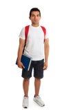 Individuo integral del estudiante que se coloca en blanco Fotografía de archivo libre de regalías